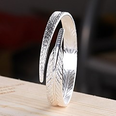 Women's Bracelet Sterling Silver Plated Sample Leaves Shape Cuff Bracelet Wedding Bride