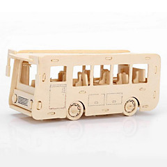 Jigsaw Puzzles 3D Puzzles / Wooden Puzzles Building Blocks DIY Toys Bus Wood Beige Model & Building Toy