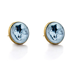 Lureme® Vintage Jewelry Time Gem Series Romantic Lovers Wolf Antique Bronze Disc Stud Earrings for Women and Girl
