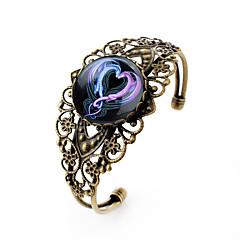 Lureme® Vintage Jewelry Time Gem Series Ssangyong Heart Shaped Antique Bronze Hollow Flower Open Bracelet for Women