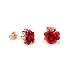 Κουμπωτά Σκουλαρίκια Κρυστάλλινο Cubic Zirconia Κράμα Βυσσινί Κόκκινο Μπλε Κοσμήματα 2pcs