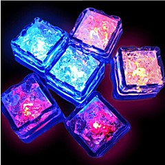 12pcs Blue / Red / Green / Pink / Yellow / RGB / Natural White Changing LED Liquid Sensor Lights Ice Cubes Shape