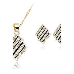 여성 목걸이 / 귀걸이 의상 보석 크리스탈 라인석 로즈 골드 도금 합금 목걸이 귀걸이 제품 결혼식 파티 일상 결혼 선물