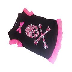 honden T-shirt Zwart Hondenkleding Zomer Doodskoppen / Harten
