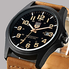 Fashion Leisure Men's Watch Calendar Leather Black Brown Band