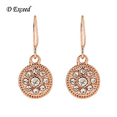 D Exceed 2016 new Hot Sale Fashion Brand jewelry Simple Temperament Rose Gold Clear Glass Stone Earrigs For Women