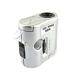 microscopio 60x magnificación zw-9592 Mini con detección de luz llevó la linterna / moneda (3 x LR43)
