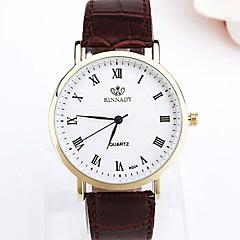 Men's Wrist watch Quartz Leather Band Black Brown