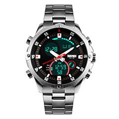 Мужской Наручные часы Кварцевый LED / Календарь / Секундомер / Защита от влаги / С двумя часовыми поясами / тревога Нержавеющая сталь