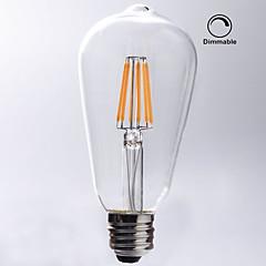 1 pç kwb E26/E27 7W / 8W 8 COB 750 lm Branco Quente ST64 edison Vintage Lâmpadas de Filamento de LED AC 110-130 V