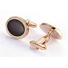 Men's Fashion Black Stone Gold Alloy French Shirt Cufflinks (1-Pair)