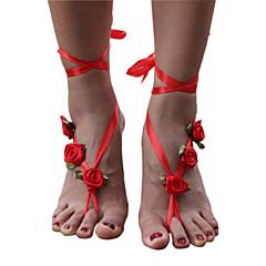 Kadın Ayak bileziği/Bilezikler Kumaş Eşsiz Tasarım Moda Çiçekli minimalist tarzı kostüm takısı Mücevher Mücevher Uyumluluk Günlük
