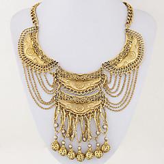 Women's European Style Ethnic Vintage Fashion Trend Metal Exaggerated Tassel Statement Necklace