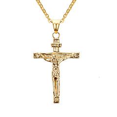 Homens Feminino Colares com Pendentes Pingentes Formato de Cruz Aço Inoxidável Cruz Clássico Dourado Jóias Para Diário Casual 1peça