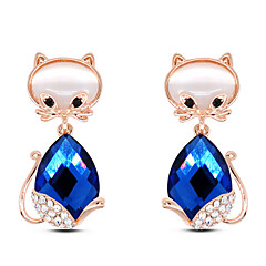 Earring Animal Shape Stud Earrings Jewelry Women Party / Daily / Casual Alloy / Rhinestone / Glass 1 pair White / Blue / Purple