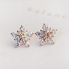 Stangøreringe Zirkonium Kvadratisk Zirconium Imitation Diamond Mode Stjerneformet Sølv Gylden Smykker Fest Daglig Afslappet 1 par