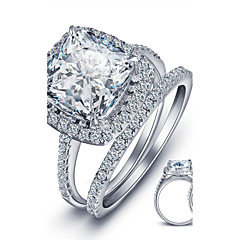 Luxurious Engagement Classic Square Diamond 925 Sterling Silver Wedding Rings SetImitation Diamond Birthstone