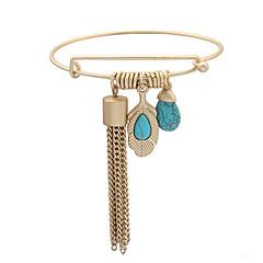 Women's European Style Retro Fashion Bohemian Ethnic Matte Gold Chain Tassel Turquoise Bracelet