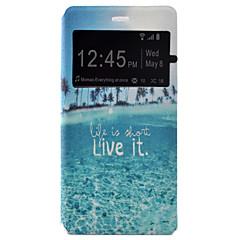 For Huawei etui P9 P9 Lite Med vindue Flip Etui Heldækkende Etui Landskab Hårdt Kunstlæder for Huawei Huawei P9 Huawei P9 Lite