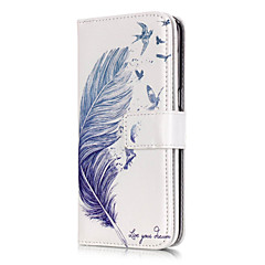 blå fjer mønster ni kort præget pu læder telefon taske materiale til galaksen s3 / s4 / S5 / S6 / s6 kant / s7 / s7 kant