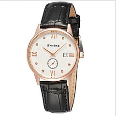 SYNOKE Herren Armbanduhr Quartz Japanischer Quartz Kalender Armbanduhren für den Alltag Leder Band Schwarz Rosa Weiß Schwarz