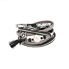 Fashion Women 3 Rows Pearl&Stone Set Wrap Leather Bracelet