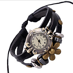 Women's Alloy Leather Handcrafted Vintage Bracelet Table Wrist Watch