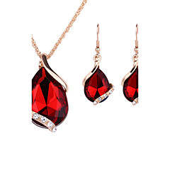 Jewelry Set Drop Earrings Pendant Necklaces Necklace/Earrings Crystal Fashion Rose Gold Crystal Rhinestone Alloy Drop Red Green Blue