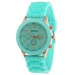 Uniseks Modieus horloge Kwarts Chronograaf Silicone Band Glitter Zwart Wit Blauw Rood Orange Bruin Groen Roze Paars Geel Beige rozeBruin