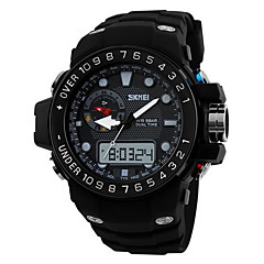 Heren Sporthorloge Japanse quartz LCD / Kalender / Waterbestendig / Dubbele tijdzones / alarm / Lichtgevend / Stopwatch Rubber Band Zwart
