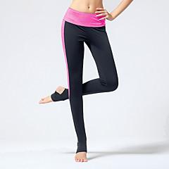 Yogabukser Tights Åndbart Komprimering Firevejs-strækbart Naturlig Høj Elasticitet Sportstøj Lyserød Grå Lysegrå Sort DameYoga Pilates