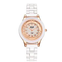 Dames Modieus horloge Gesimuleerd Diamant Horloge Kwarts Waterbestendig Vrijetijdshorloge imitatie Diamond Keramiek Band Elegante horloges