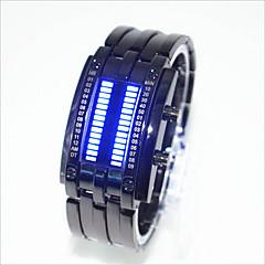 Αντρικά Γυναικεία Για Ζευγάρια Μοδάτο Ρολόι Μοναδικό Creative ρολόι Ψηφιακό LED Ανθεκτικό στο Νερό κράμα Μπάντα Δημιουργικό Μαύρο Ασημί