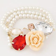 Women's European Style Fashion Sweet Flowers Imitation Gemstones Multilayer Imitation Pearl Strand Bracelets