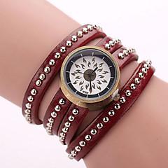 Mulheres Relógio de Moda Quartz Relógio Casual Couro Banda Preta / Branco / Azul / Marrom / Verde / Amarelo / Cores Múltiplas marca-