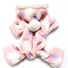 Katte Hunde Hættetrøjer Jumpsuits Pyjamas Pink Hundetøj Vinter Forår/Vinter Polkaprikker Sød Afslappet/Hverdag