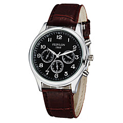 Men's Dress Watch Quartz Water Resistant / Water Proof Leather Band Cool Casual Black Brown Brand