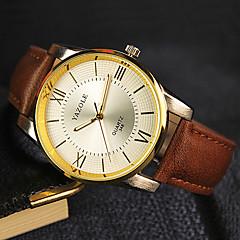 YAZOLE® Brand Men's Dress Watch Quartz Noctilucent Leather Band Black / Brown Fashion Wrist Watch