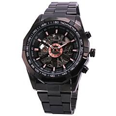 WINNER Αντρικά Ρολόι Καρπού μηχανικό ρολόι Εσωτερικού Μηχανισμού Αυτόματο κούρδισμα Ανοξείδωτο Ατσάλι Μπάντα Πολυτελές Μαύρο