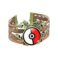 Pocket Monster Poke Ball Cartoon Pattern PU Leather Bracelet