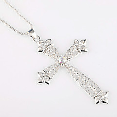 Diamond Studded Cross Dress Long Sweater Chain Necklace