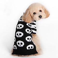 Gatos / Perros Disfraces / Suéteres / Accesorios Negro / Blanco Ropa para Perro Invierno / Primavera/Otoño Cráneos Cosplay / Halloween