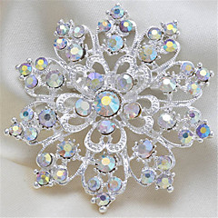 Exquisite Round Silver Shining Rhinestone High-Quality Women Brooch Ongoing