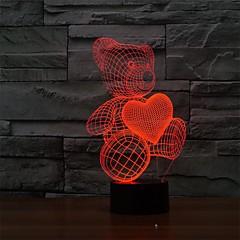 A rajzfilm aranyos szív alakú medve led lámpa 3d baba éjszakai fény