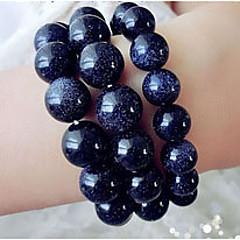 Women 6mm 28 Pearls Blue Gravel Strand Bracelets