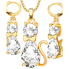 Fashion Cat Pendants Necklaces Earrings Crystal jewelry Set For Women 18K Gold Plated Vintage Jewelry Sets Gifts S20110