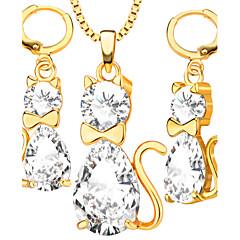 Biżuteria Ustaw Kryształ Kryształ Powłoka platynowa Pozłacane Godny podziwu Modny White Golden Naszyjnik / KolczykiŚlub Impreza Codzienny