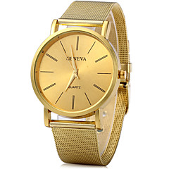 Geneva Analog Quartz Watch with Stainless Steel Band for Men