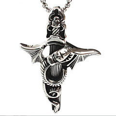 tidevandet mandlig dinosaur dragen titanium stål tværs vedhæng halskæde (ikke inklusive kæde)