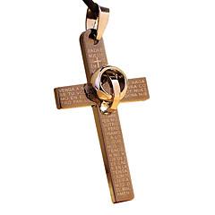 de acero de titanio collar con una cruz de la vendimia con una cuerda de cuero - un círculo adjunta